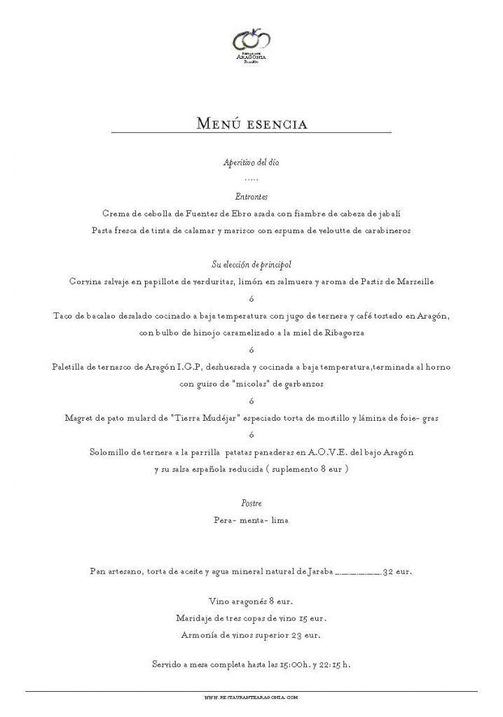 Menú Esencia Restaurante Aragonia sept 2019