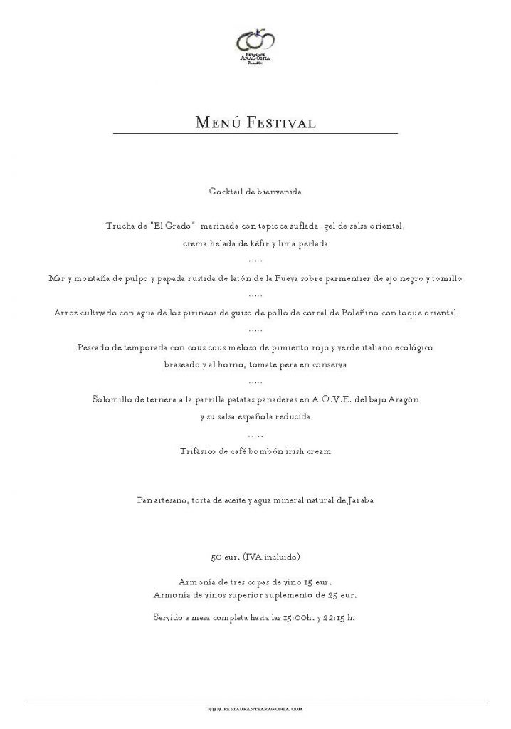 Menú Festival Restaurante Aragonia SEPT 2019