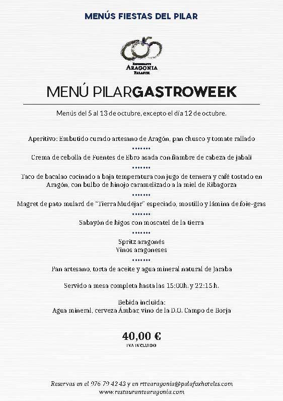 Menú Pilar Gastroweek Restaurante Aragonia Palafox Zaragoza 2019