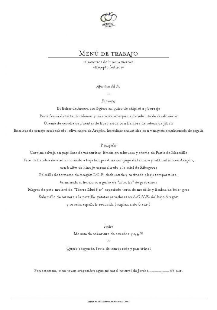 Menú de Trabajo Restaurante Aragonia sept 2019