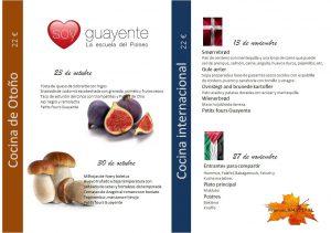 Menús de octubre y noviembre en Guayente