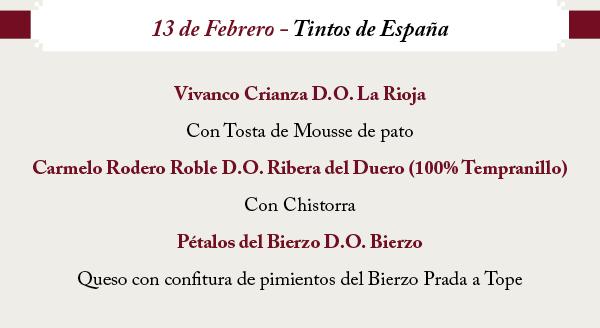 Cata de vinos tintos de España