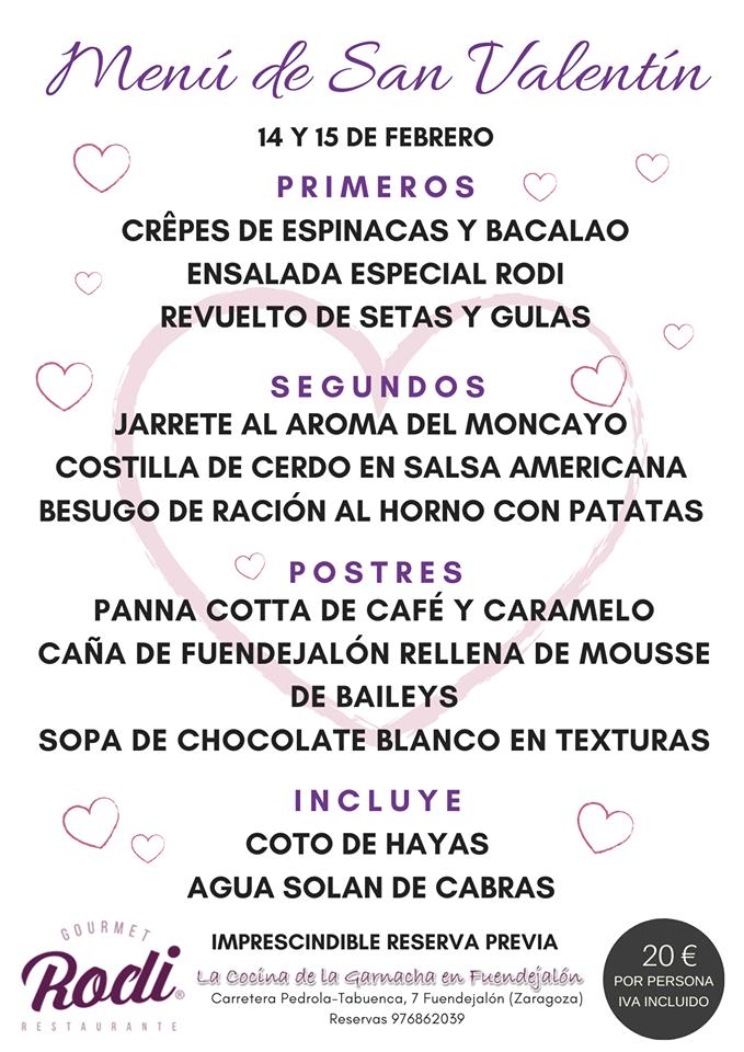 Menú de San Valentín en Rodi Fuendejalón