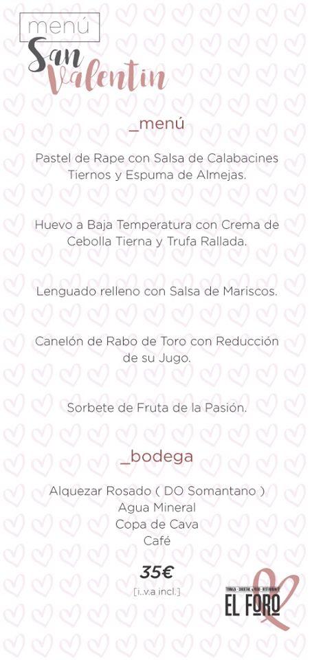 Menú de San Valentín en El Foro