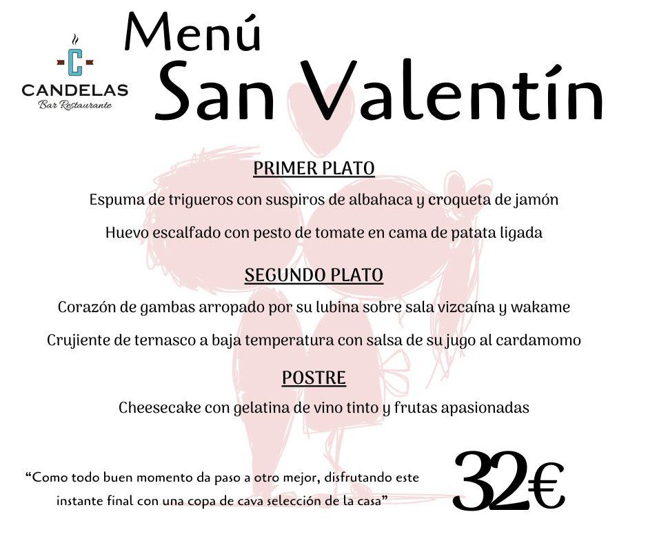 menú San Valentín en El Candelas