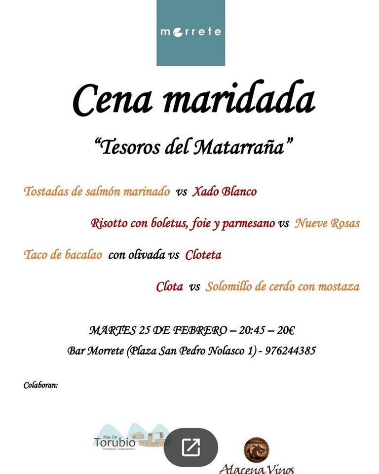 Cena maridada Tesoros del Matarraña