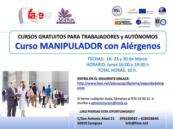 Curso de manipulador de alimentos con alérgenos en Azafrán