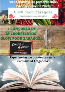 cartel I concurso microrrelatos slow food zaragoza