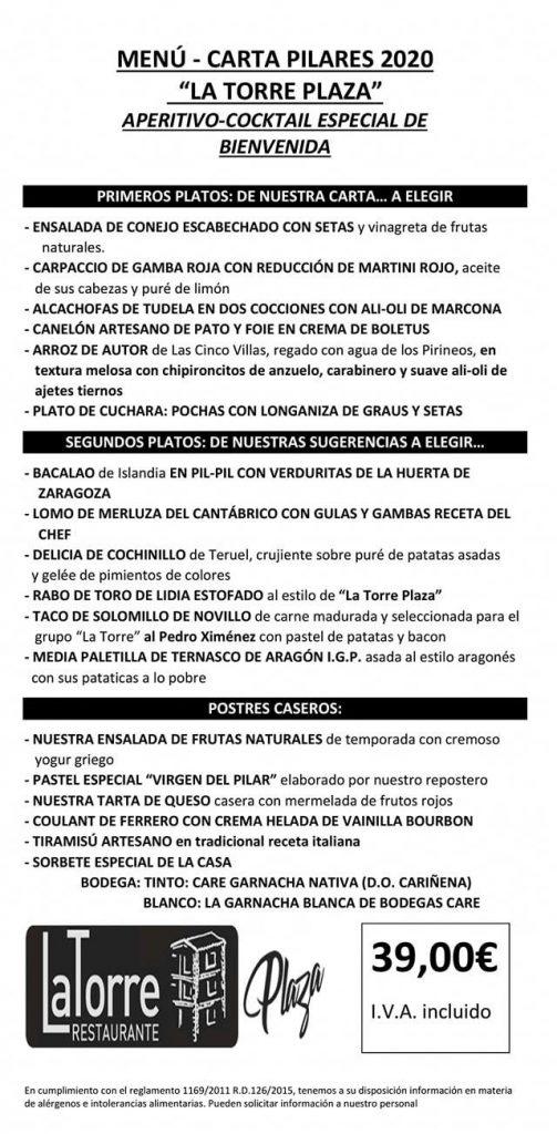 Menu Pilar La Torre Plaza 2020