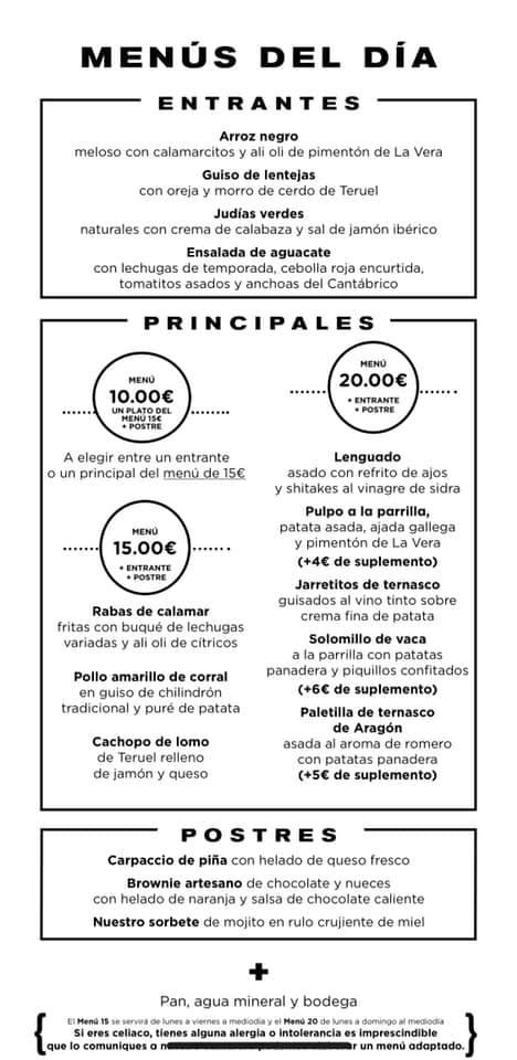 Menú Parrilla Albarracín