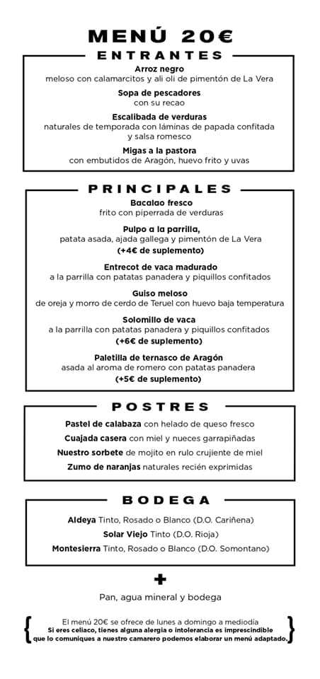 Menú Albarracin