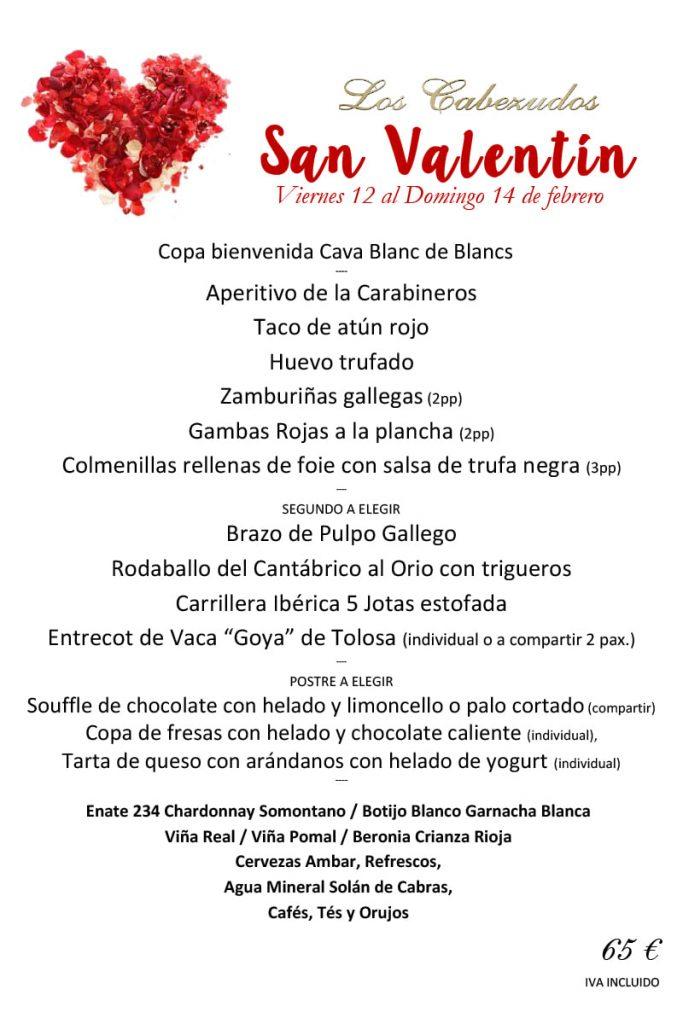 Menú San Valentín - Los Cabezudos