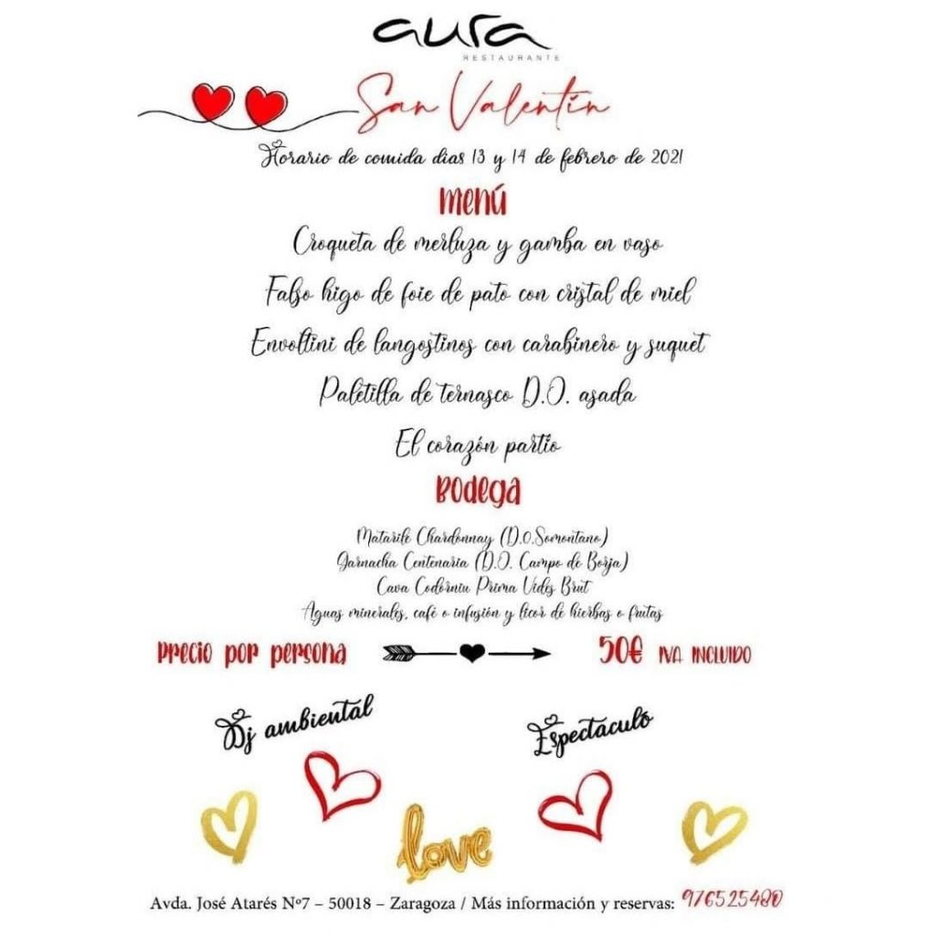 Menú de San Valentín Aura