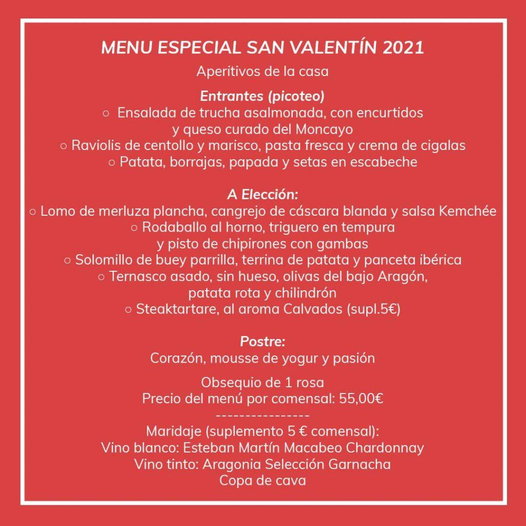 Menú de San Valentín El Chalet