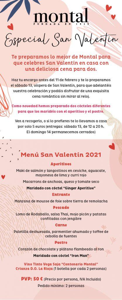 Menú de San Valentín Montal