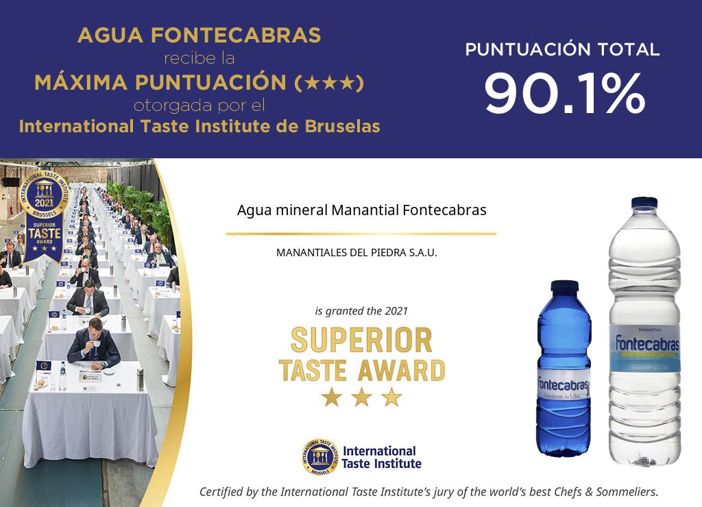 Agua mineral Manantial Fontecabras 2021 SUPERIOR TASTE