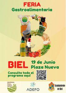 Cartel Feria agroalimentaria Biel con QR para redes