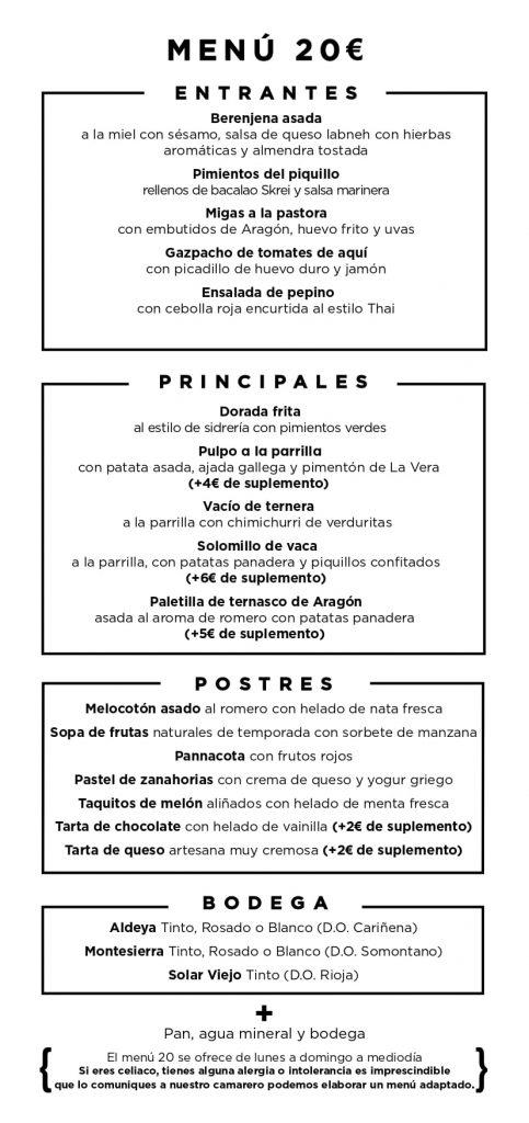 Menú Parrilla Albarracin