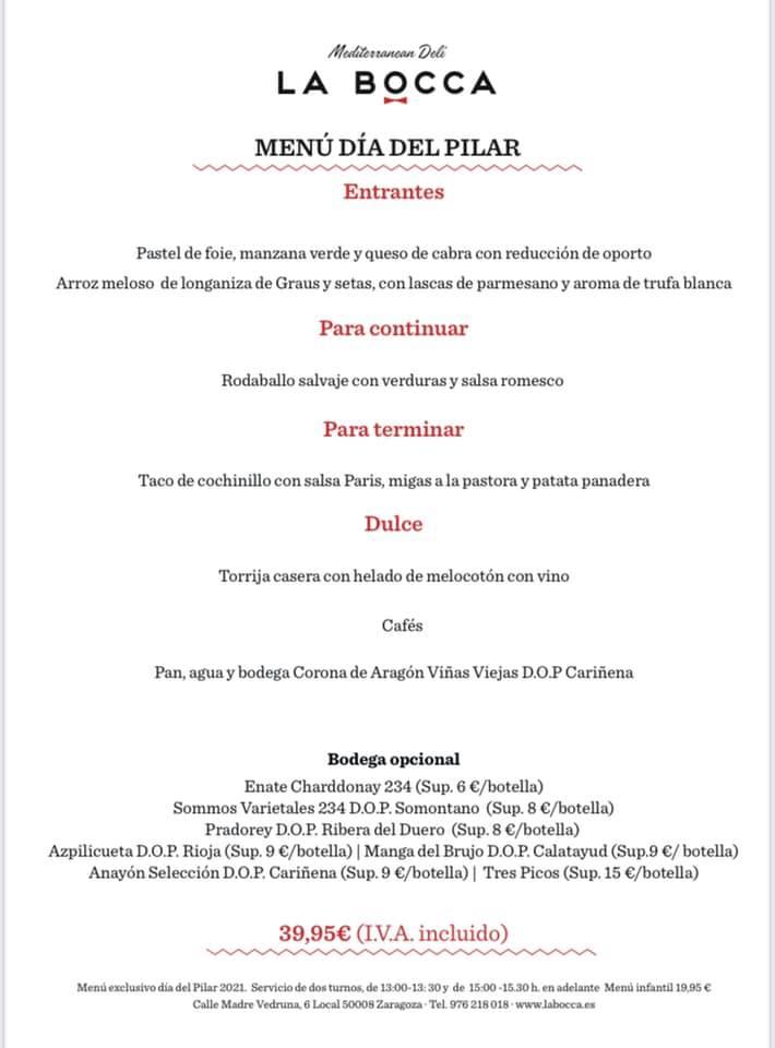 Menú Día del Pilar - La Bocca